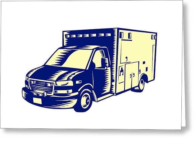 Medical Greeting Cards - EMS Ambulance Emergency Vehicle Woodcut Greeting Card by Aloysius Patrimonio