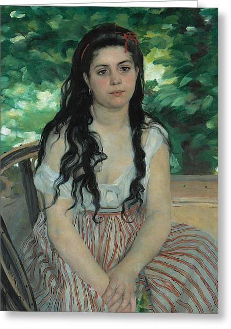 Renoir Greeting Cards - En ete - La bohemienne Greeting Card by Auguste Renoir