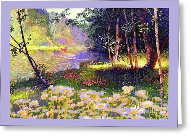 Enchanted By Daisies, Modern Impressionism, Wildflowers, Silver Birch, Aspen Greeting Card by Jane Small