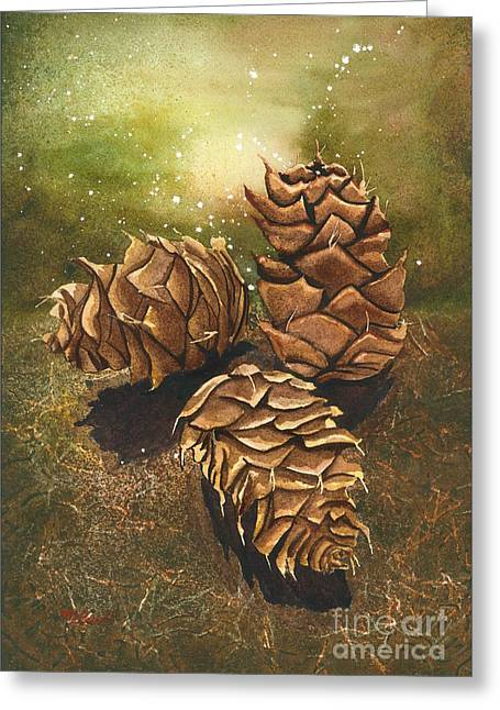 Pine Needles Paintings Greeting Cards - Enchanted Forest Greeting Card by Melanie Pruitt
