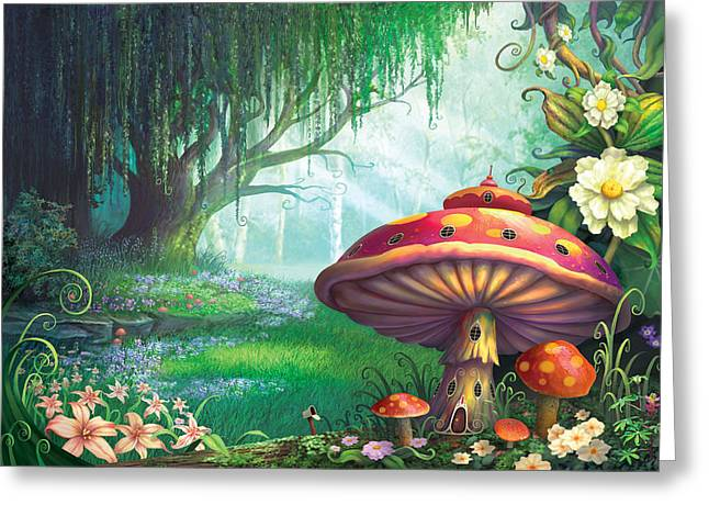 Mushrooms Greeting Cards - Enchanted Forest Greeting Card by Philip Straub