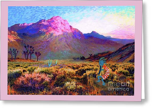 Enchanted Kokopelli Dawn Greeting Card by Jane Small