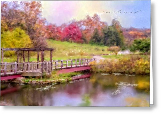 Landscape Framed Prints Greeting Cards - Enchanted Greeting Card by Mary Timman