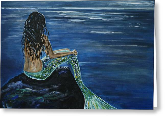 Recently Sold -  - Wishes Greeting Cards - Enchanted Mermaid Greeting Card by Leslie Allen
