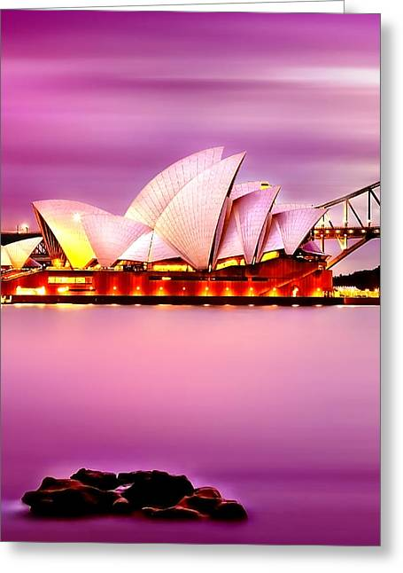 Pink Sunset Greeting Cards - Enchanted Opera Greeting Card by Az Jackson