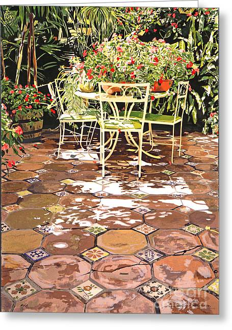 Tropical Gardens Greeting Cards - Enchanted Patio Greeting Card by David Lloyd Glover