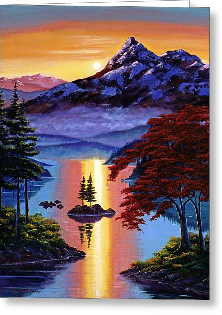 Mist Paintings Greeting Cards - Enchanted Reflections Greeting Card by David Lloyd Glover