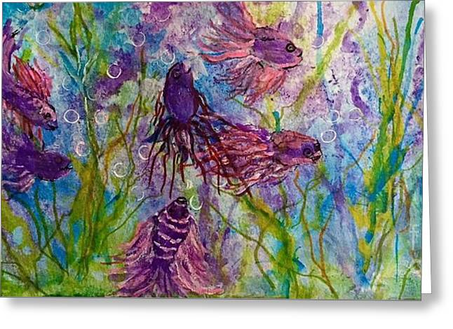 Betta Greeting Cards - Enchanted sealife party Greeting Card by Anne Sands