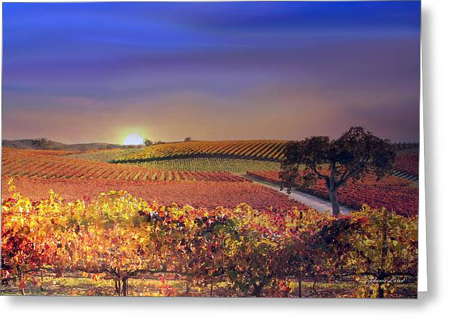 Tuscan Sunset Greeting Cards - Enchanted Vineyard Greeting Card by Stephanie Laird