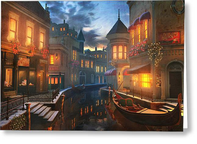 Night Greeting Cards - Enchanted Waters Greeting Card by Joel Payne
