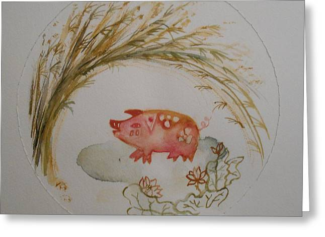 Cut-outs Greeting Cards - Enchanted Wild Hog Greeting Card by Maria Moscato