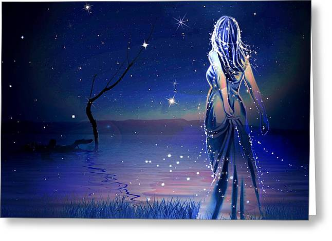 Mystical Landscape Greeting Cards - Enchanted Women Greeting Card by Annie Zeno