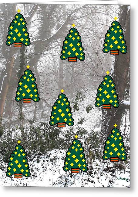 Winter Prints Mixed Media Greeting Cards - Enchanting Christmas Forest Greeting Card by Patrick J Murphy