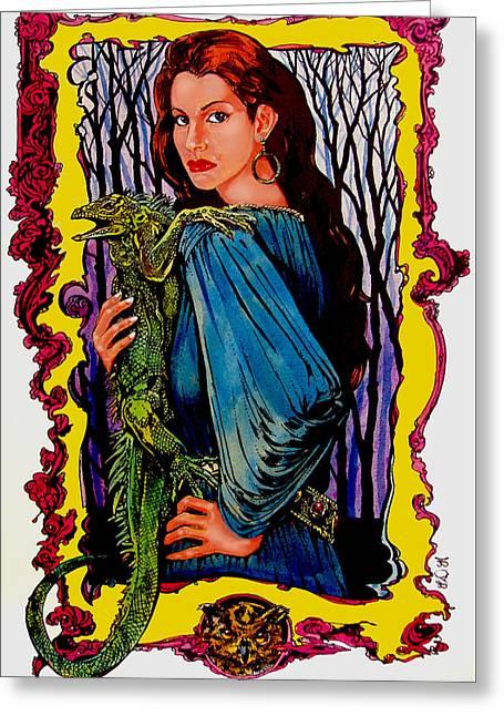 Wizard Drawings Greeting Cards - Enchantress Greeting Card by Derrick Higgins