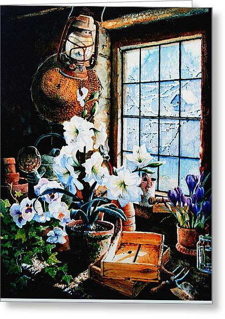 Shed Greeting Cards - Encouraging Springtime Greeting Card by Hanne Lore Koehler