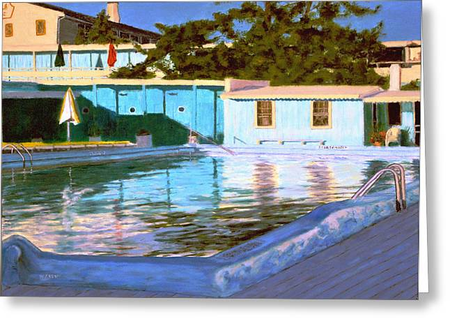 York Beach Paintings Greeting Cards - End Of A Beautiful Day Greeting Card by William Frew
