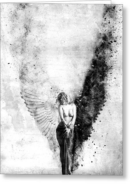 Angel Mixed Media Greeting Cards - End of Innocence Greeting Card by Photodream Art