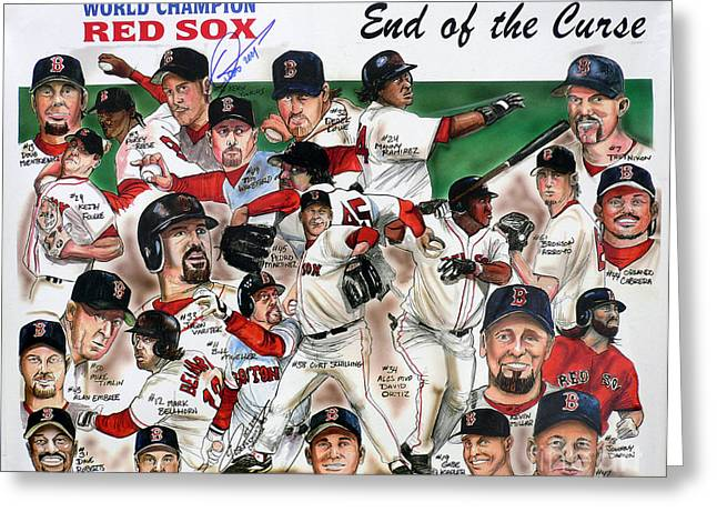 Sox Greeting Cards - End Of The Curse Red Sox newspaper poster Greeting Card by Dave Olsen