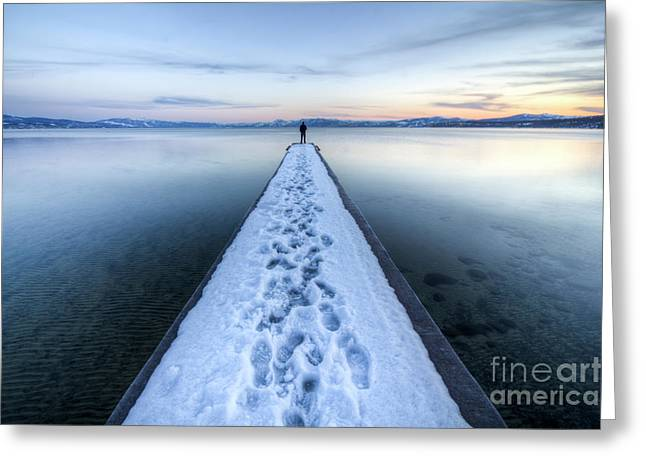 Distance Greeting Cards - End of the Dock in Lake Tahoe  Greeting Card by Dustin K Ryan