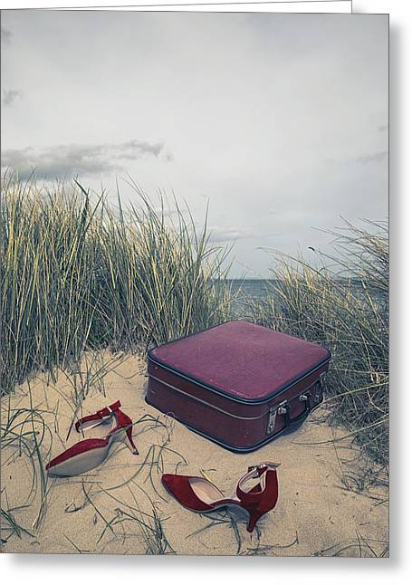 Red Shoe Greeting Cards - End Of The Journey Greeting Card by Joana Kruse