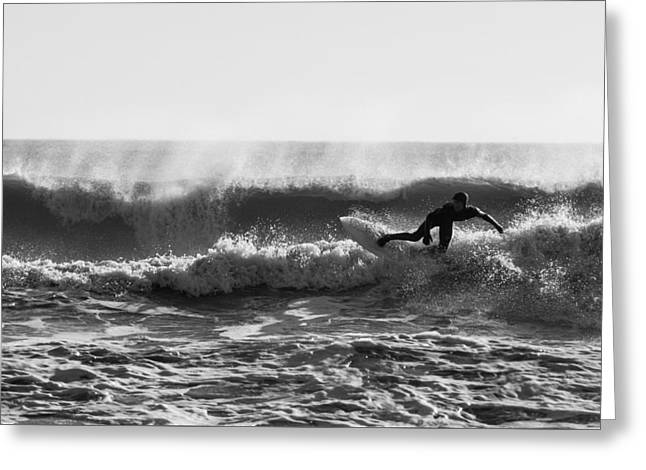 Surfing Art Greeting Cards - End of the Line Greeting Card by AM Photography