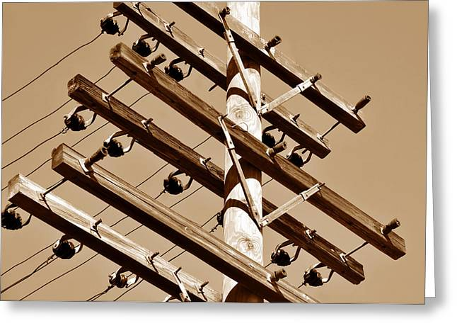 Telephone Wires Greeting Cards - End of the Line Greeting Card by David Lee Thompson