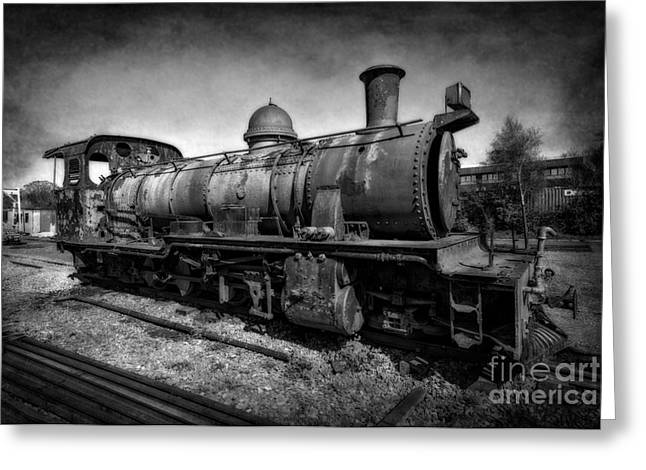 Black And White Hdr Greeting Cards - End of the Line v2 Greeting Card by Adrian Evans
