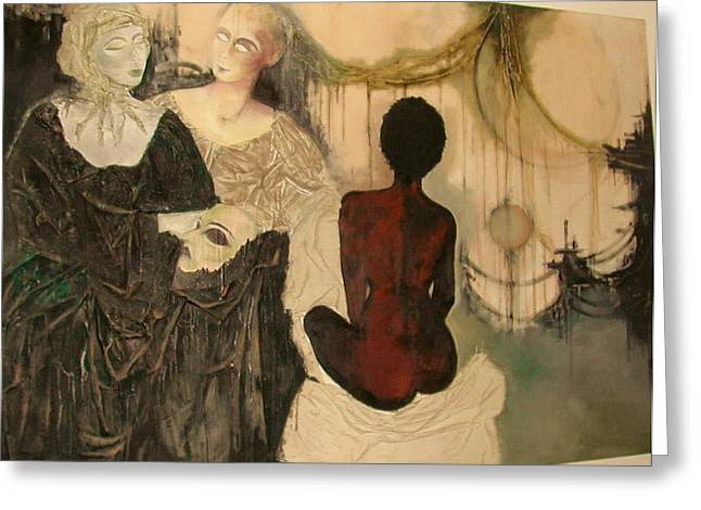 Figurative Tapestries - Textiles Greeting Cards - End of Words Worlds  Greeting Card by Maya Albina Morella