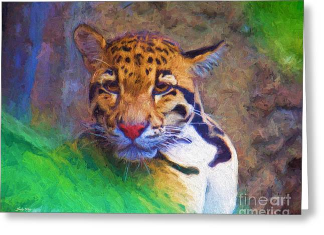 Wildcats Greeting Cards - Endangered Leopard Greeting Card by Judy Kay