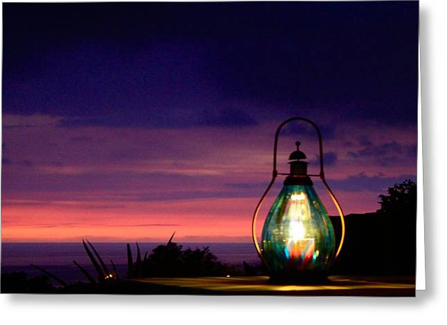 Hurricane Lamp Greeting Cards - Ending Glow  Greeting Card by Kimberly  Reeves