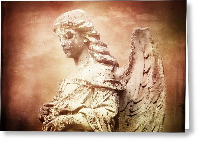 In Memoriam Greeting Cards - Endings Cemetery Angel Statuary Greeting Card by Melissa Bittinger
