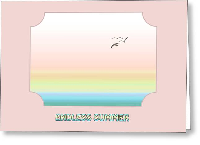 Seaside Digital Greeting Cards - Endless Summer - Pink Greeting Card by Gill Billington