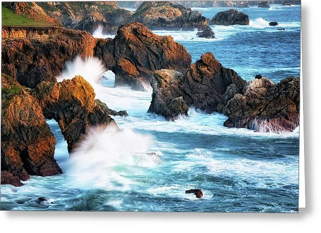 Endless Waves Pound California's Rugged Big Sur Coastline. Greeting Card by Larry Geddis