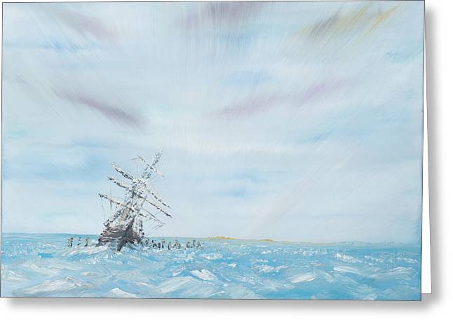 Sailboat Art Greeting Cards - Endurance trapped by the Antarctic Ice Greeting Card by Vincent Alexander Booth
