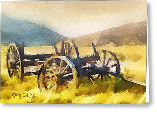 Pioneer Greeting Cards - Enduring Courage - Panoramic Greeting Card by Greg Collins