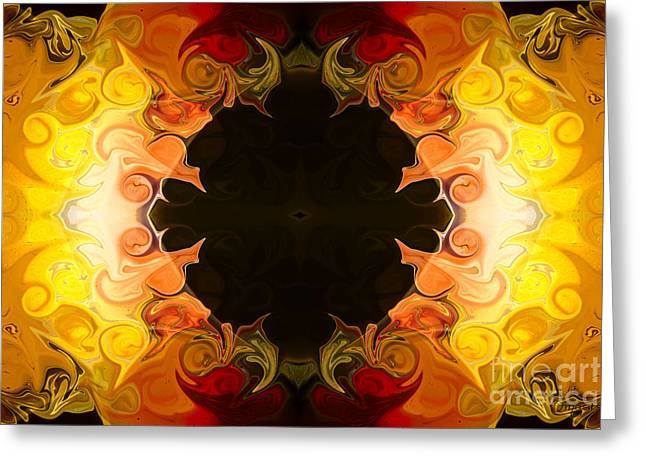 Brown Tones Glass Greeting Cards - Energy Attractions  Abstract Organic Bliss Artwork Greeting Card by Omaste Witkowski
