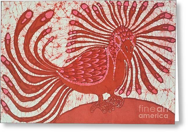 Batik Crackle Greeting Cards - Energy Bird Greeting Card by Carol  Law Conklin