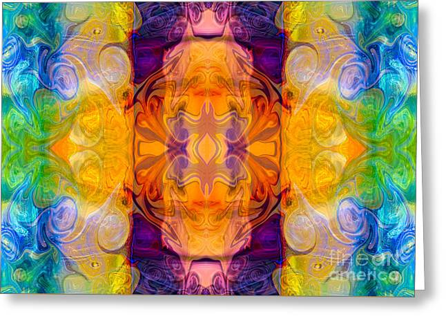 Green And Yellow Abstract Greeting Cards - Energy Chambers Abstract Bliss Designs by Omashte Greeting Card by Omaste Witkowski
