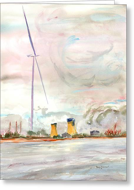 Turbulent Skies Mixed Media Greeting Cards - Energy on the Rhone Number One Greeting Card by Nancy Brennand
