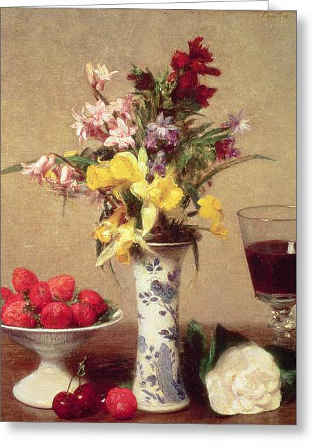 Red Wine Greeting Cards - Engagement Bouquet Greeting Card by Ignace Henri Jean Fantin-Latour