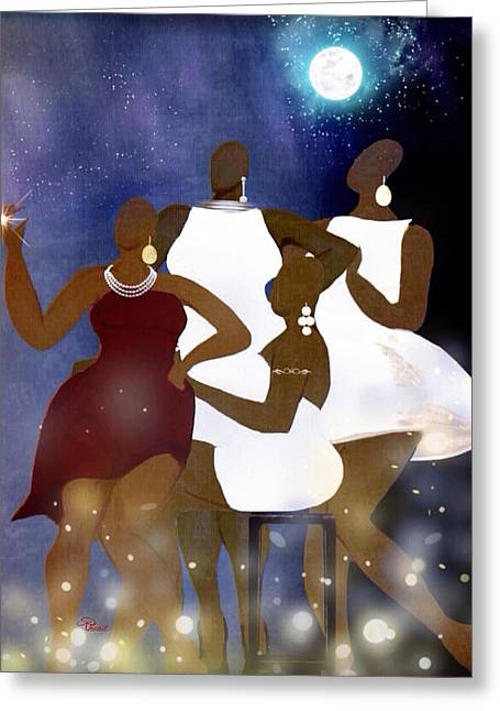 African-american Greeting Cards - Engagement Party Greeting Card by Romaine Head