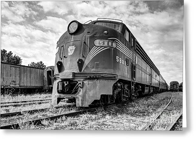 Engine Number 5888 Black And White Greeting Card by Mel Steinhauer