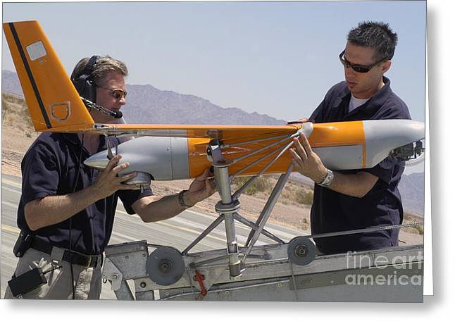 Headset Greeting Cards - Engineers Mount A Scaneagle Unmanned Greeting Card by Stocktrek Images