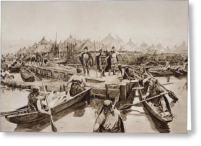 Canoe Drawings Greeting Cards - England 2,000 Years Ago. The Landing Greeting Card by Ken Welsh