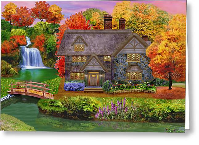 Stream Digital Greeting Cards - England Country Autumn Greeting Card by Glenn Holbrook