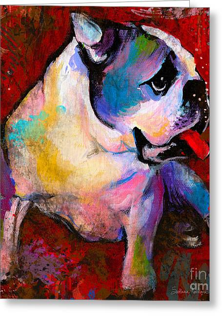 Whimsical Mixed Media Greeting Cards - English American Pop Art Bulldog print painting Greeting Card by Svetlana Novikova