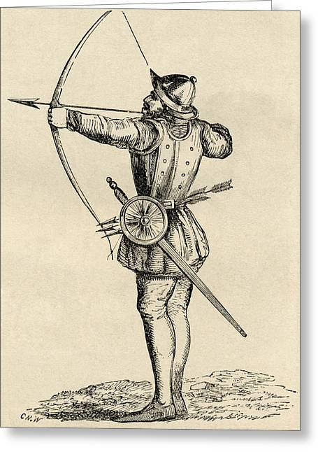 Soldier Illustrations Greeting Cards - English Archer Shooting Longbow. From Greeting Card by Ken Welsh