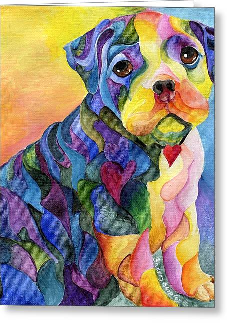Puppies Paintings Greeting Cards - English Blue Greeting Card by Sherry Shipley