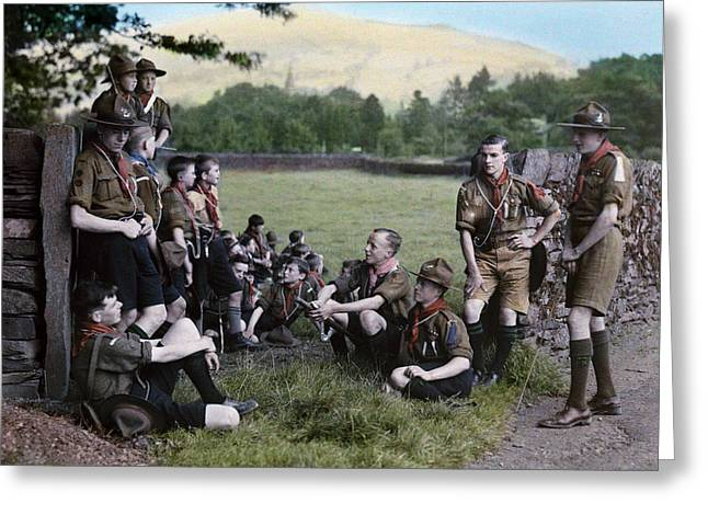 Mixed Age Range Greeting Cards - English Boy Scouts On A Hike Stop Greeting Card by Clifton R. Adams