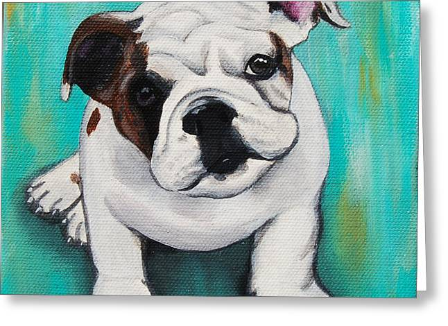 Puppies Paintings Greeting Cards - English Bulldog Puppy Greeting Card by Lauren Hammack